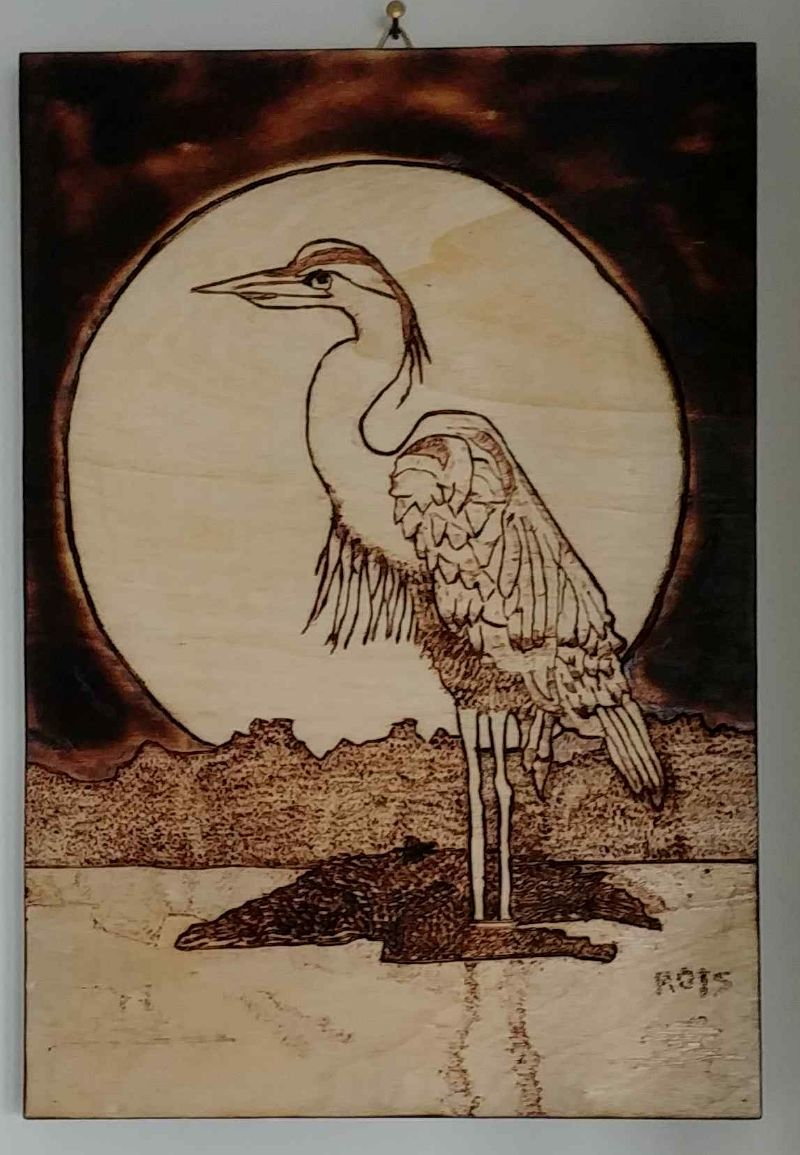 pyrography-blue-heron