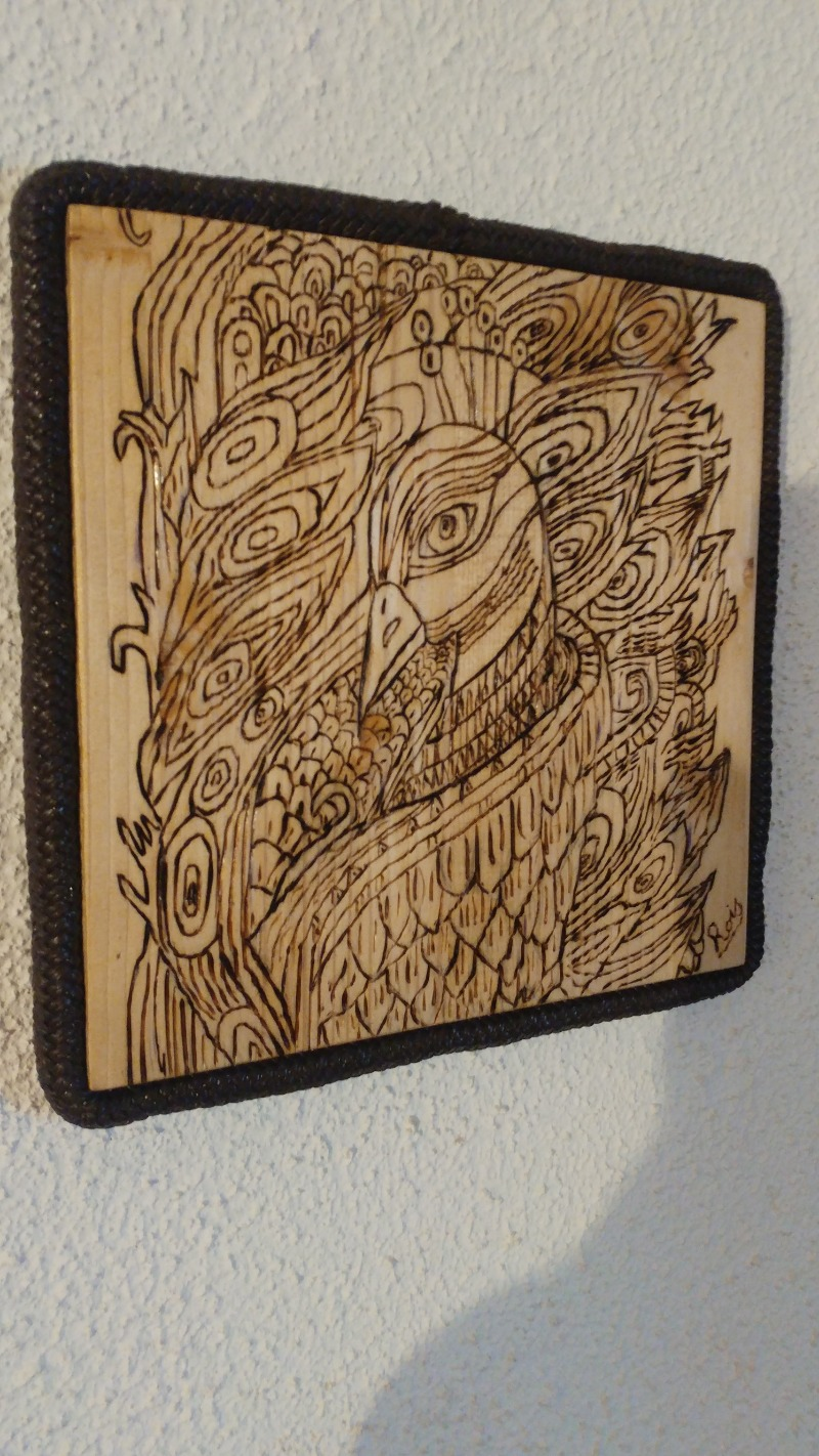 pyrographed-peacock