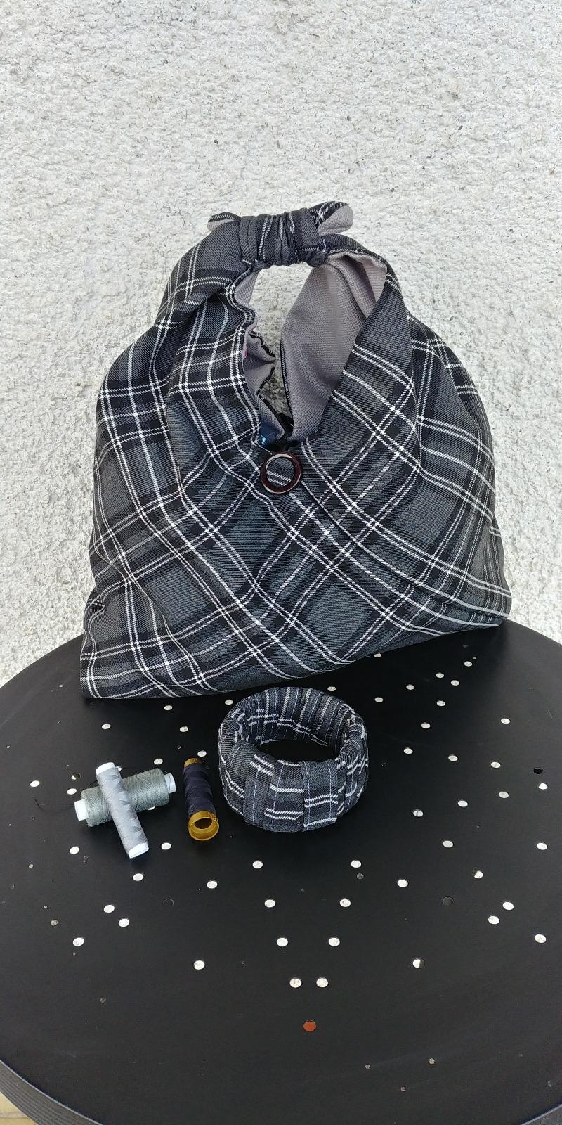 borsa-tartan-grigia-origami